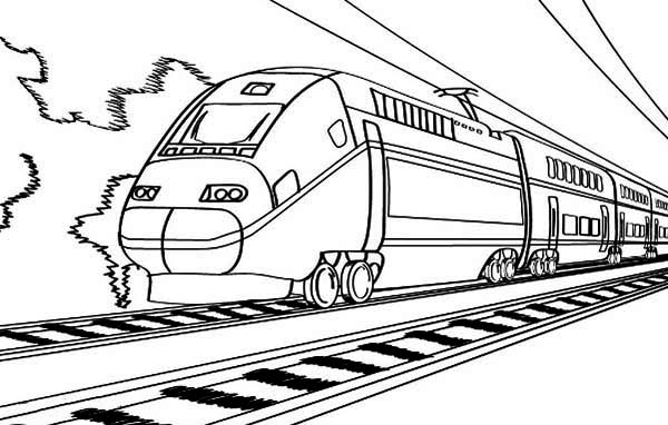 Electric Train On Railroad Coloring Page : Color Luna