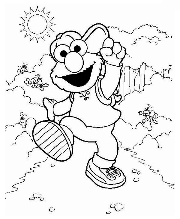 Elmo Take A Vacation In In Sesame Street Coloring Page