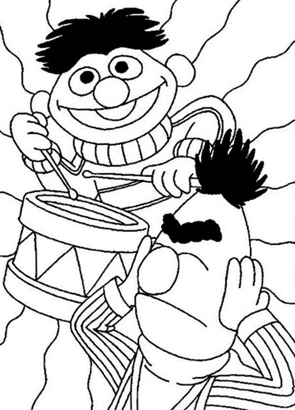 Ernie Playing Drum In Sesame Street Coloring Page : Color Luna