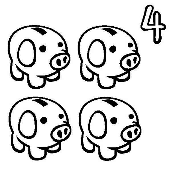 Four Piggy Bank Coloring Page : Color Luna