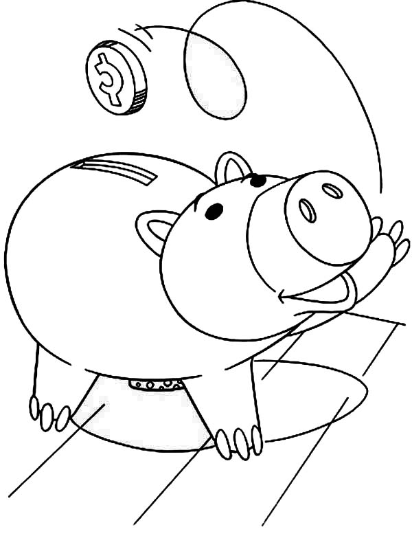 Hamm The Piggy Bank From Toy Story Coloring Page : Color Luna