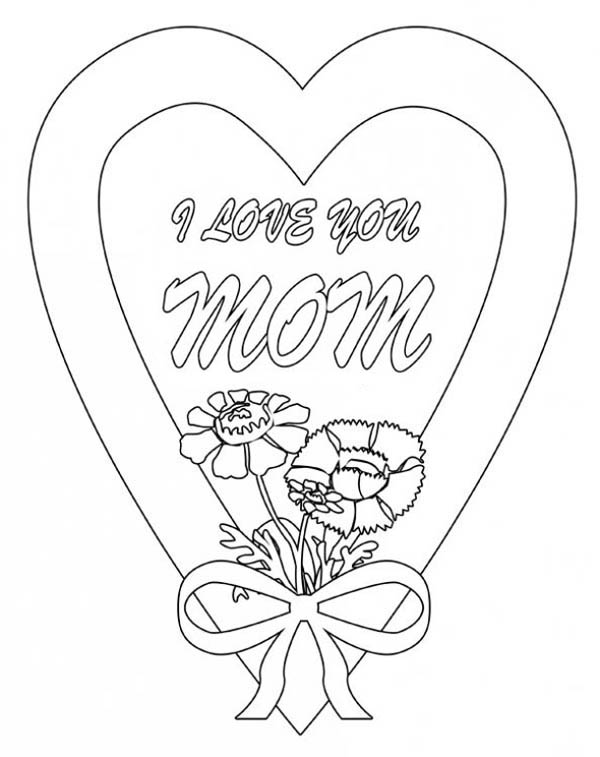 I Love You Mom In Hearts And Roses Coloring Page : Color Luna