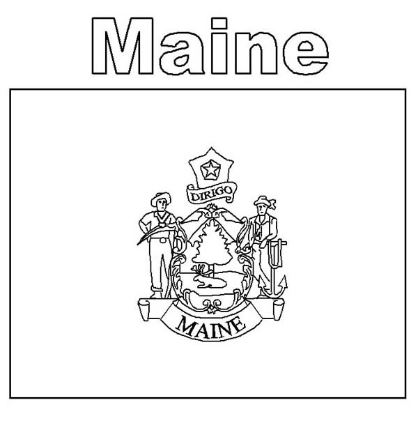 Maine State Flag Coloring Page : Color Luna