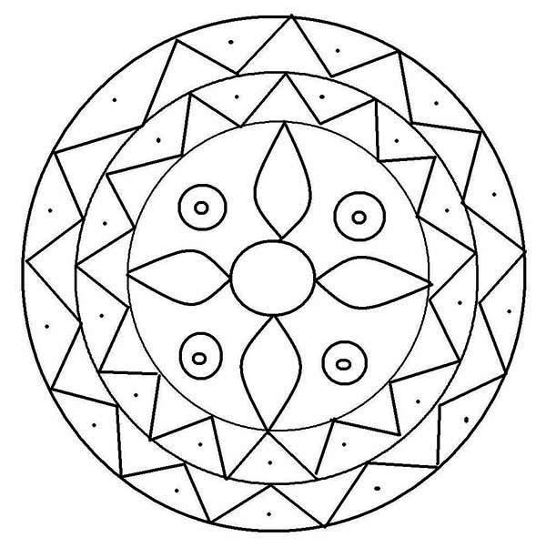 Mandala Design Rangoli Coloring Page : Color Luna