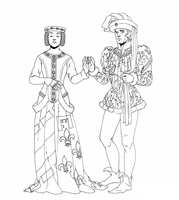 Middle Ages Dance Between Prince And Princess Coloring