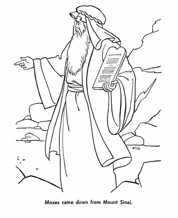 Moses Came Down From Mount Sinai With The Law Coloring