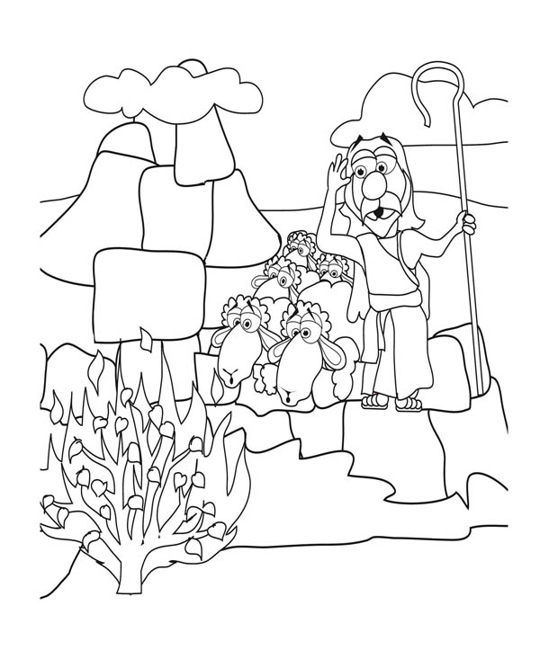 Moses See Burned Bush Coloring Page : Color Luna