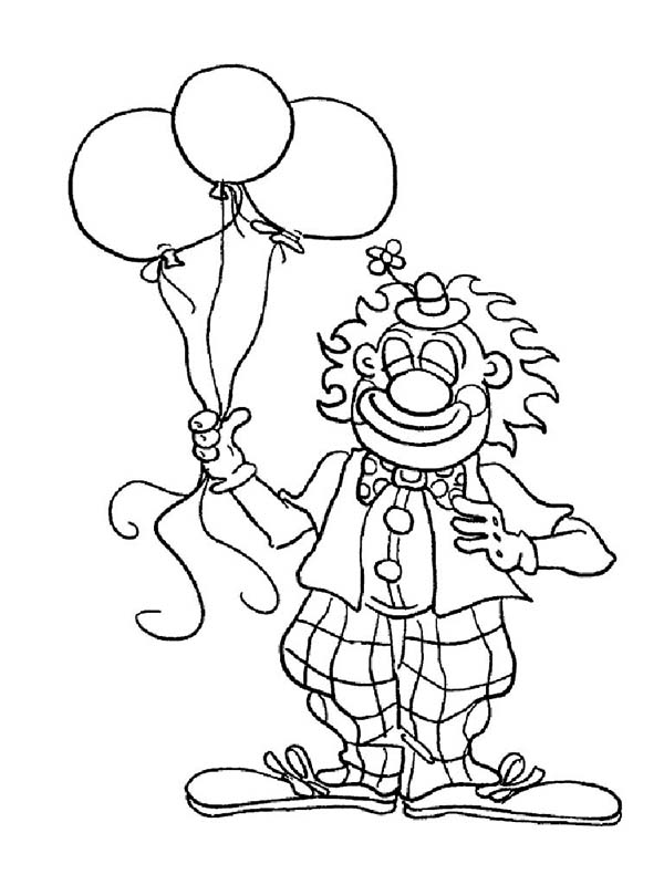 Mr Clown Has Tree Balloon Coloring Page : Color Luna