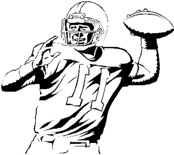 NFL Player Throwing Ball Coloring Page : Color Luna