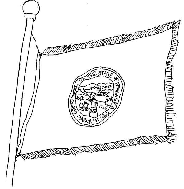 State Of Nebraska Map Coloring Page Sketch Coloring Page