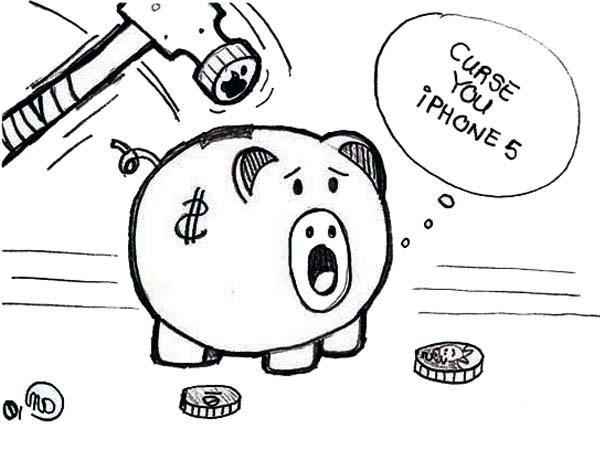Piggy Bank Cursing IPhone 5 Coloring Page : Color Luna