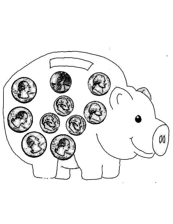 Piggy Bank Full Of Coin Coloring Page : Color Luna