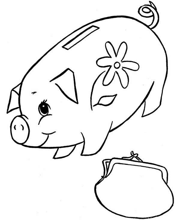 Piggy Bank And Purse Coloring Page : Color Luna