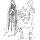 Princess In Her Chamber In Middle Ages Coloring Page