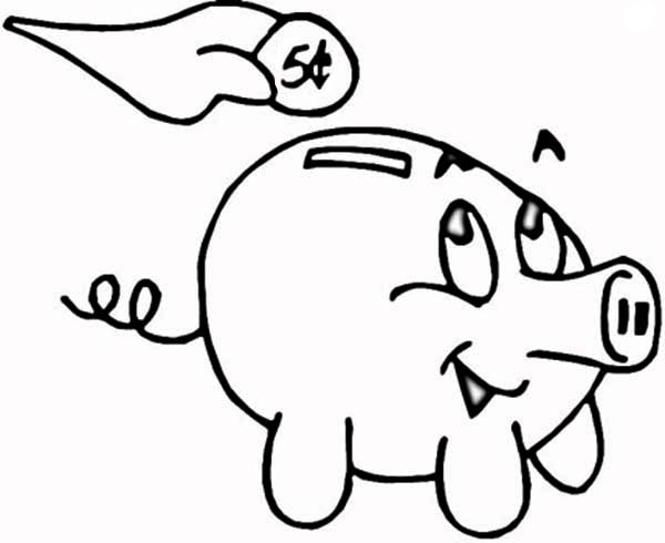 Putting Coin In Piggy Bank Coloring Page : Color Luna