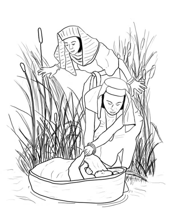 Queen Bithina Found Moses at Nile River Coloring Page