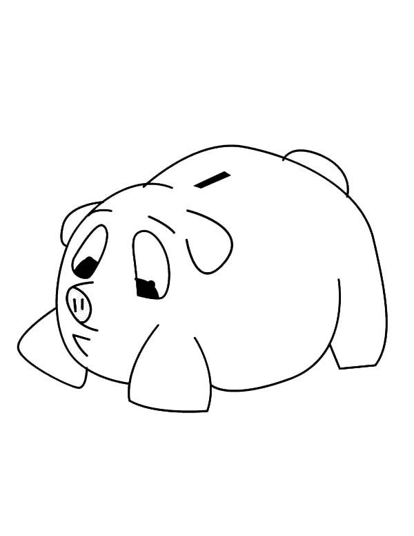 Sad Piggy Bank Coloring Page : Color Luna
