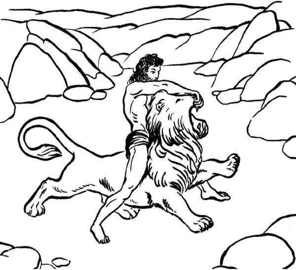 Samson Killing A Lion Coloring Page : Color Luna