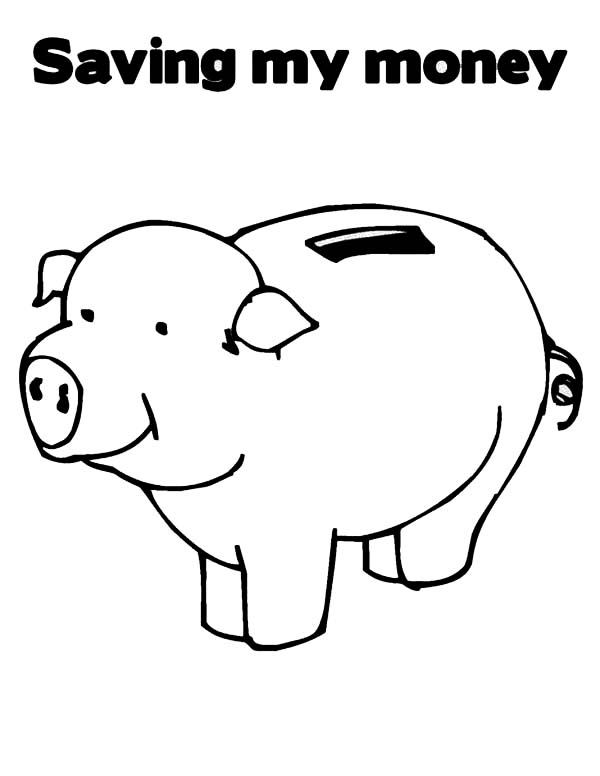 Saving My Money In Piggy Bank Coloring Page : Color Luna