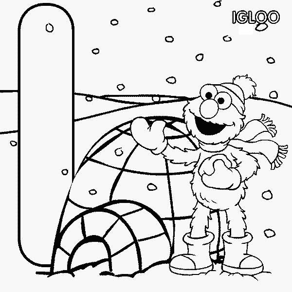 Sesame Street Elmo And Igloo House Coloring Page : Color Luna