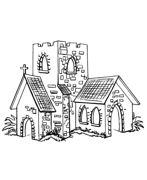 Small Church In Middle Ages Coloring Page : Color Luna