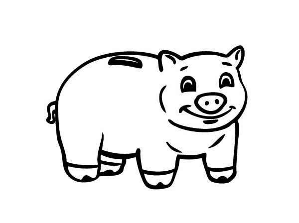 Smiling Piggy Bank Coloring Page : Color Luna