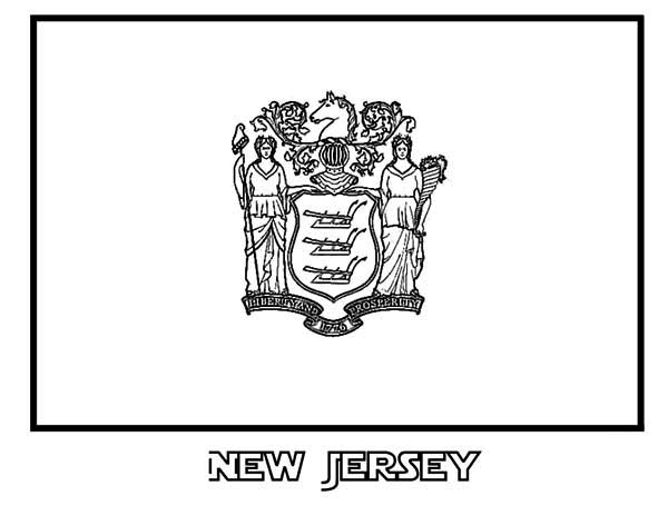 State Flag Of New Jersey Coloring Page : Color Luna