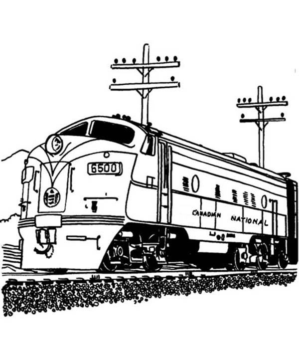 Streamlined Diesel Engine Train on Railroad Coloring Page