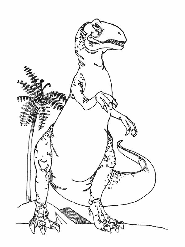 T Rex Standing Taller Than Coconut Tree Coloring Page
