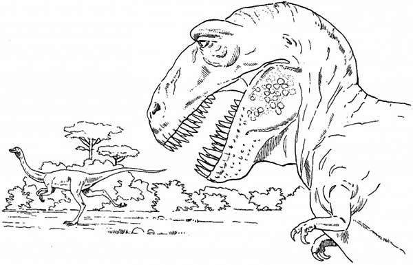 T Rex Is Going Hunting Coloring Page : Color Luna