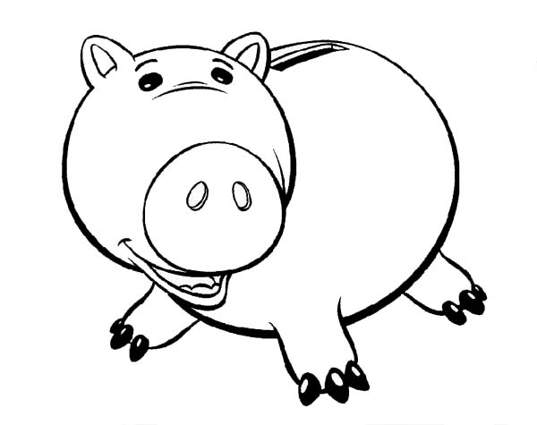 Toy Story Fat Piggy Bank Coloring Page : Color Luna