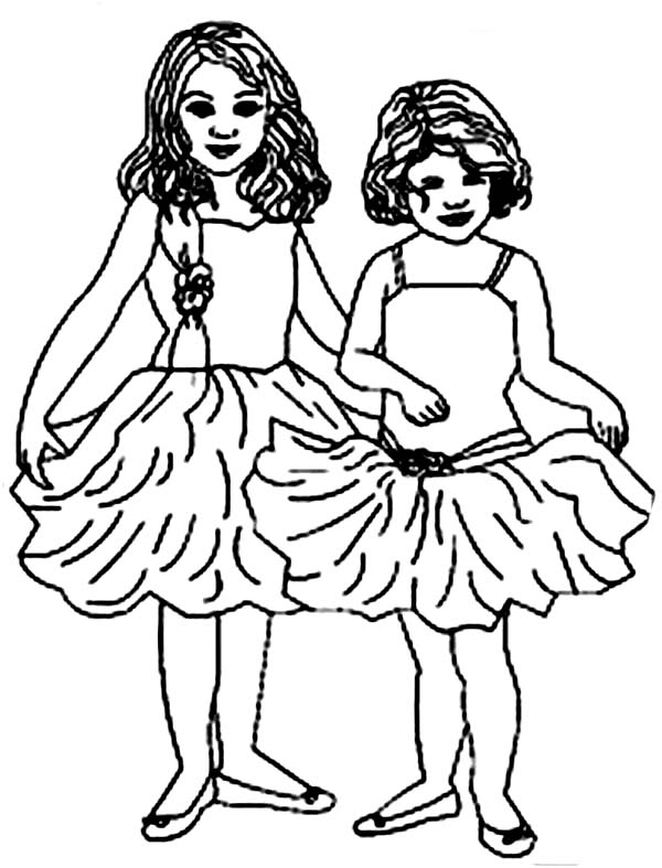 Two Little Ballerina Coloring Page : Color Luna