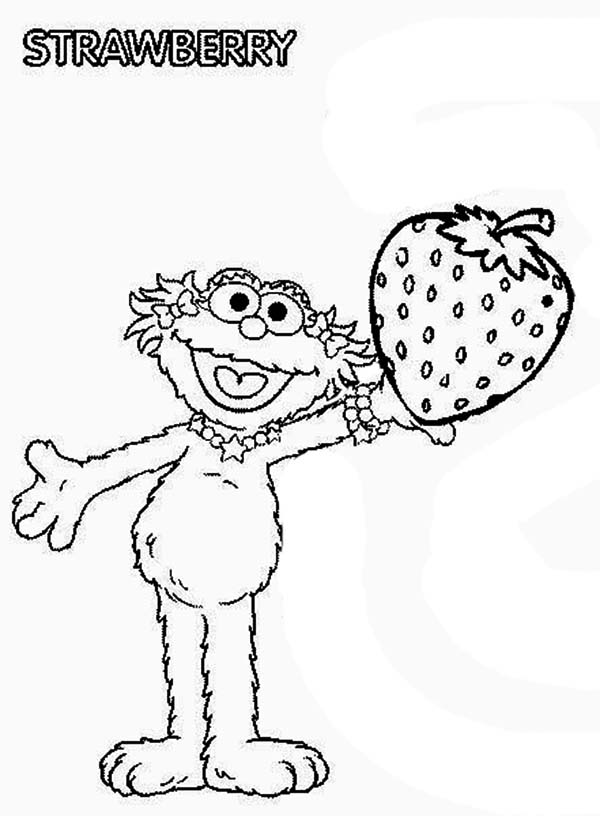 Zoe With Sweet Strawberry In Sesame Street Coloring Page