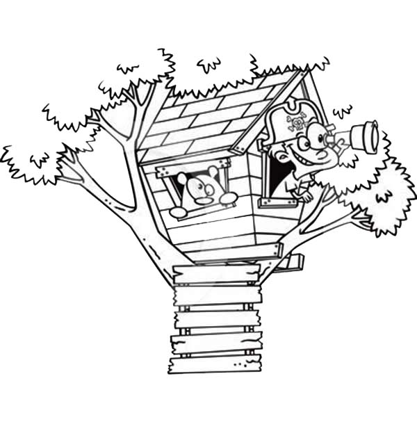 A Boy Playing Pirate On Treehouse Coloring Page : Color Luna