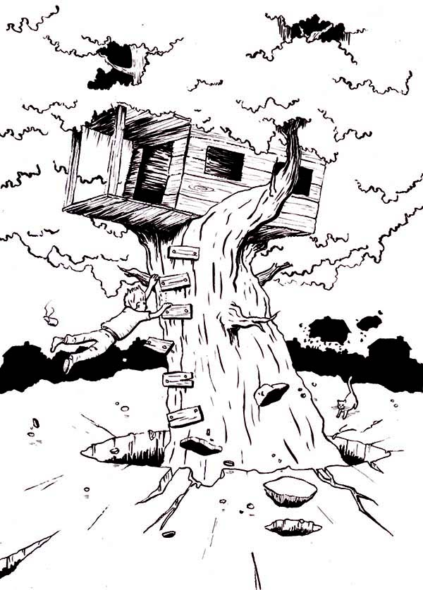 Boy Hanging On Monster Treehouse Coloring Page : Color Luna