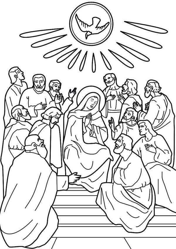 Depiction Of Pentecost Coloring Page : Color Luna