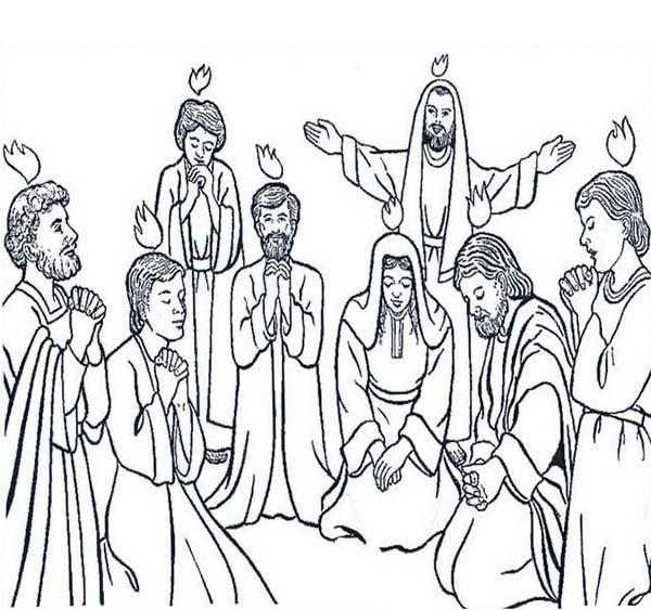 Followers Of Jesus Celebrate Pentecost Coloring Page