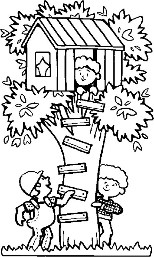Kids Playing Hide and Seek at Treehouse Coloring Page