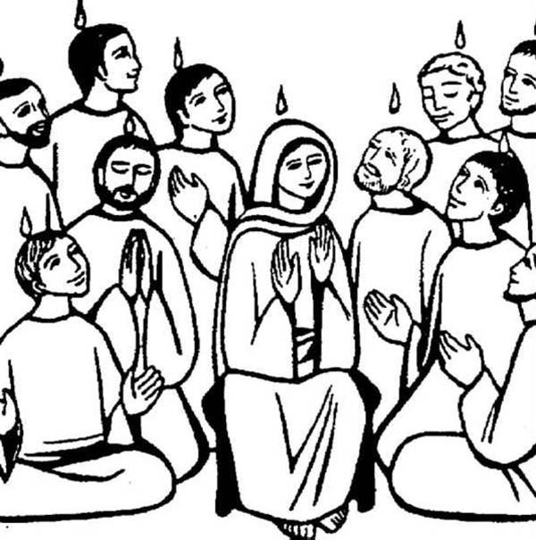 Obedient Followers Of Jesus In Pentecost Coloring Page