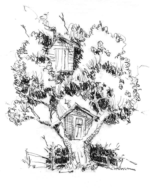 One Tree Two Treehouse Coloring Page : Color Luna