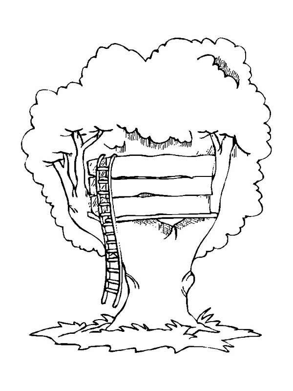 Simple Treehouse Coloring Page : Color Luna