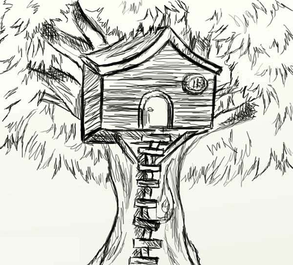 Sketch Of Treehouse Coloring Page : Color Luna