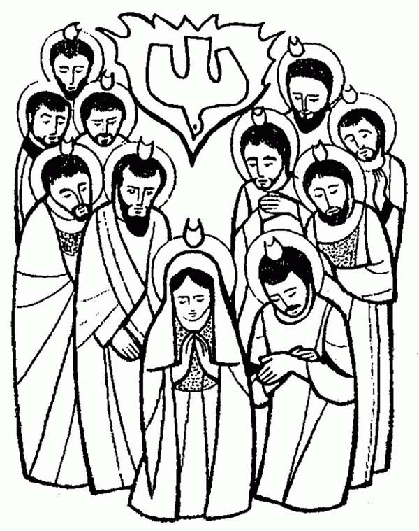 The Apostles Is Pray For Holy Spirit In Pentecost Coloring