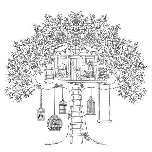 Treehouse Of Birds Coloring Page : Color Luna