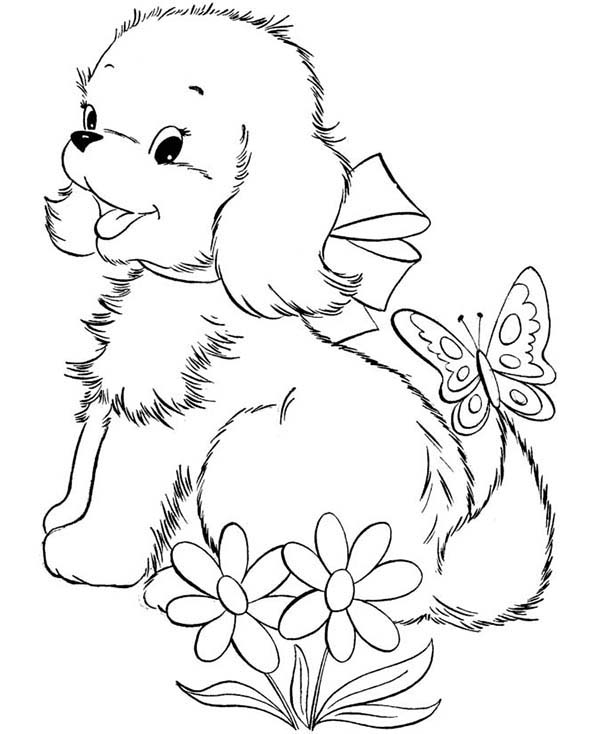 Cute Puppy Dog Playing With Butterfly Coloring Page