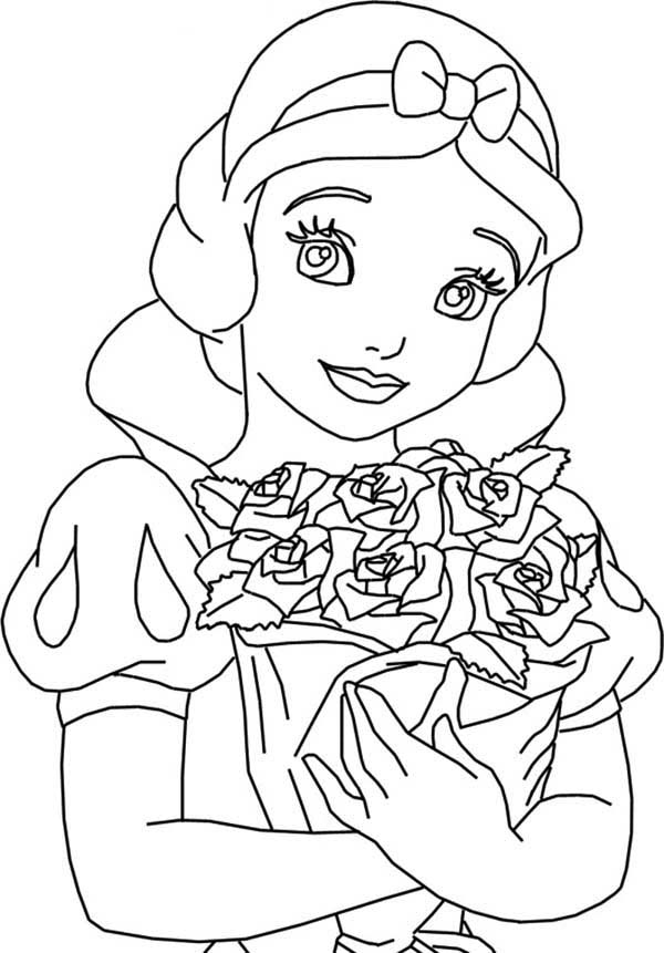 Snow White Holding Bouquet Of Rose Coloring Page : Color Luna