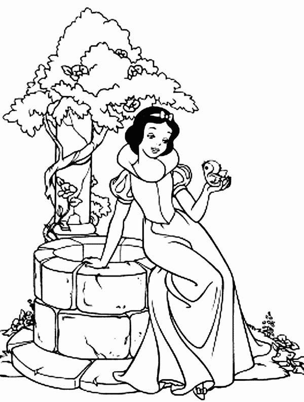 Snow White Sitting On The Side Of Well Coloring Page