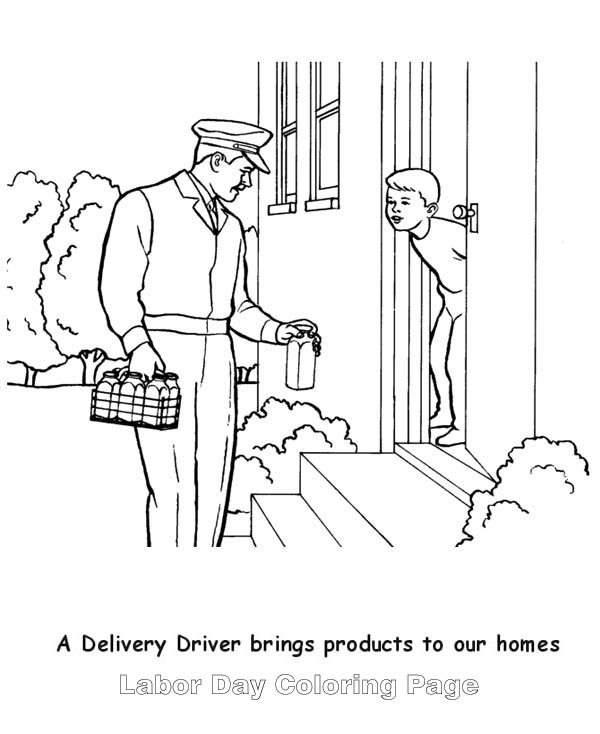 A Delivery Milk Man In Labor Day Coloring Page : Color Luna