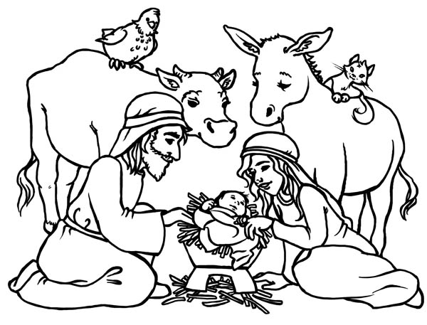 Baby Jesus In A Manger In Nativity Coloring Page : Color Luna