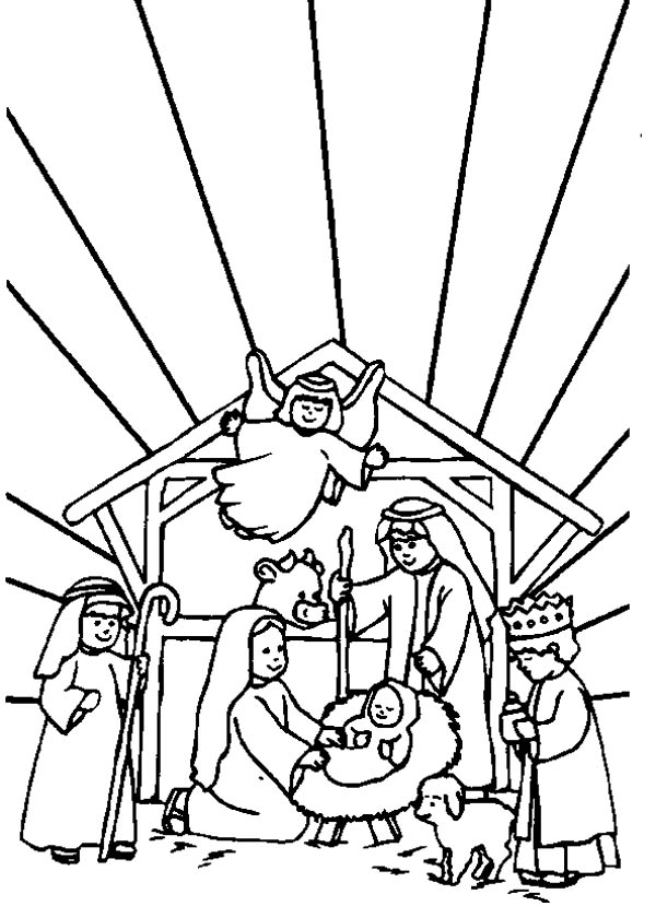 Bible Story Of The Born Of Jesus In Nativity Coloring Page